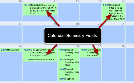 The example here shows the calendar page with the Skinfolds and 40m Sprint Forms displaying any fields in that form that have been set to True as Calendar Summary Fields