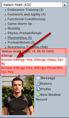 "The image in the step here shows that Allergy information has been set up with the ""Critical Information"" property. It displays on the sidebar if it has been entered for the athlete"