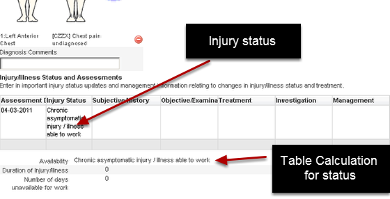 Other fields use a table option calculation where the injury status is updated daily in a SOAP table and a table calculation calculates the current injury status