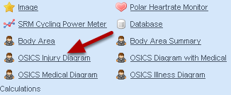 To add a fully Orchard Code 10 injury diagram click on OCIS Injury