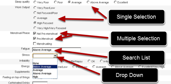 Examples of drop down, single selection, search list and multiple selection questions.