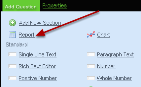 To add in a report (in a table format) that pulls through data from any other form on the system click on the Report button