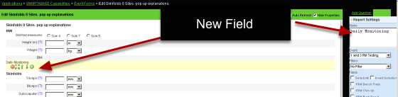 A report field will be added to the Form Overview. Name the Report field. Because you are not entering in any data, you do not have a description field to enter.