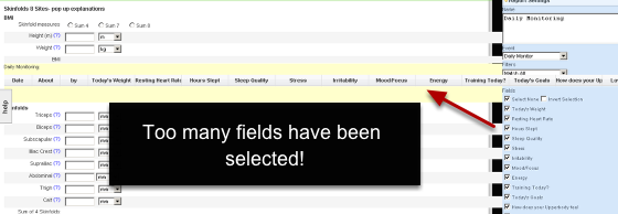 Only tick the fields from the form that are important because the Report field grows wider with each field (column) that is ticked.