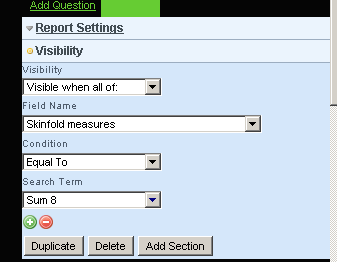 Set any Visibility settings to show or hide the field based on preselected questions