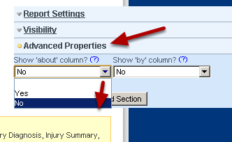 Go to the Advanced Properties for that field and set the show 'about' column? and Show 'by' column? to no