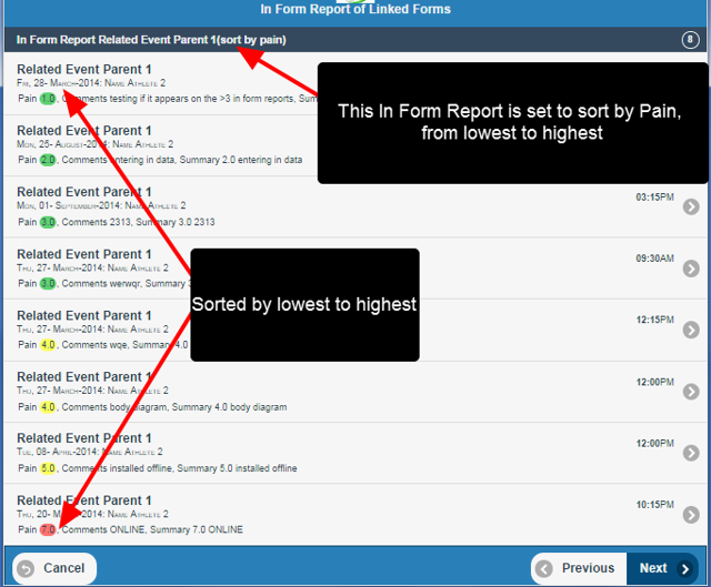 In Form Report Sorting is supported