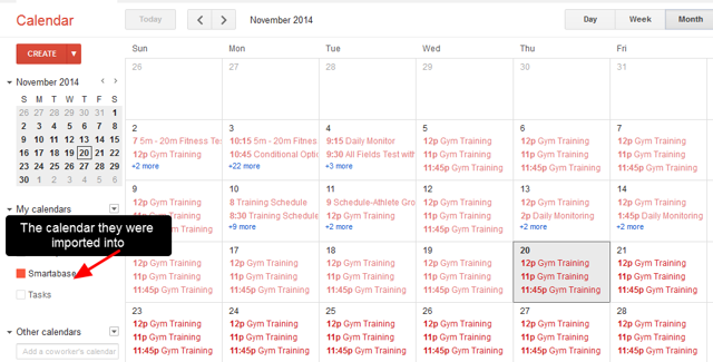 The calendar that the events were imported into will display the entries