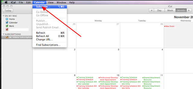 """On your Outlook or iCal calendar system, click on """"Subscribe"""""""