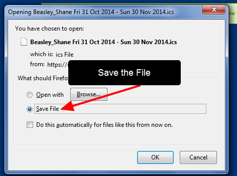The .ics file will be available; choose to save the file and it should be available from your downloads
