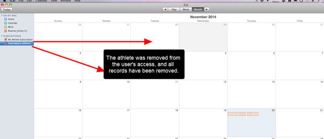 N.B. If access to the system, an athlete, or any Event Forms, is removed, the calendar access will be updated accordingly