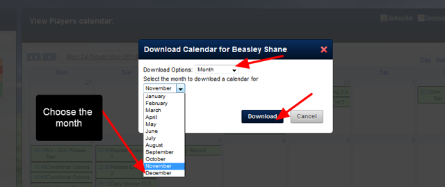 Because you are viewing the calendar for one athlete for that month view, the iCal for that athlete and month can be downloaded