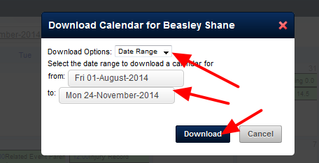 Alternatively, you can choose a a specific date range to download the data for