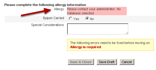 When you test your form in your application, make sure you give yourself access to the database on the administration site as well, or your form will not be able to show the database it is linked to, and no one will be able to enter data into that field.