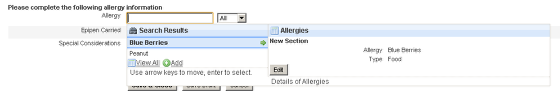 The Allergy form with a database linked to it and a user access given on the administration site.
