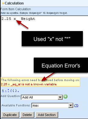 Any errors with the equation will automatically appear for you to correct (as shown here)