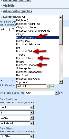 """Each field will appear in the """"Add Question"""" selection box along with a historical field that you can use to calculate any type of historical data for the fields in the form."""