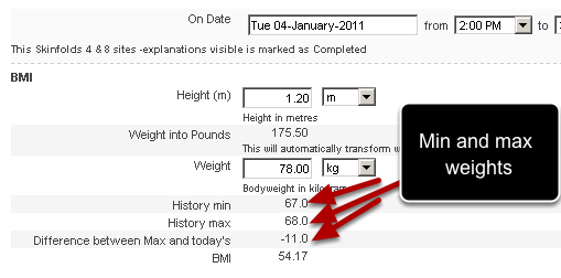 An example of the historical calculations used to pull out a maximum and minimum weight, and then calculate the difference between the max and today's date.