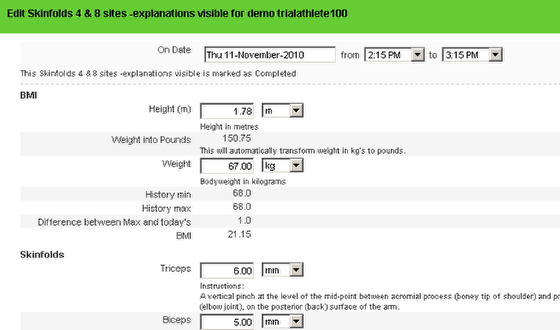 After you enter in 2 events, the historical calculations will appear in your event form when you enter the data.