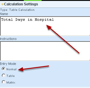 Name the field and ensure that it's question settings are set as Normal and NOT as a table