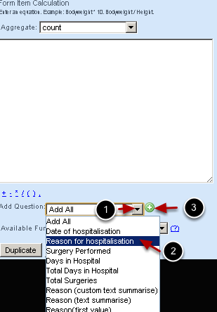 Select the field that you want to run the text calculation for and add it or type it into the calculation area