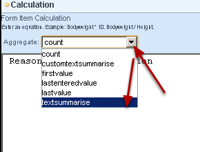 Select the Aggregrate options for a table text calculation
