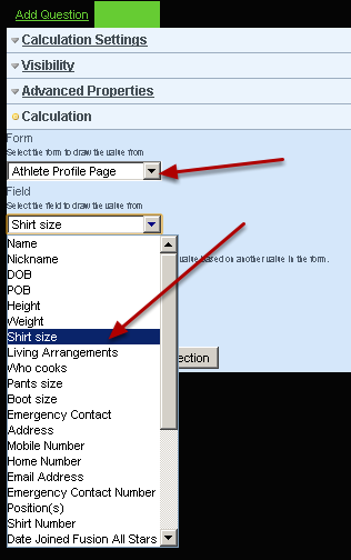 Next, in the Calculation section select the profile form and field that you want to link to