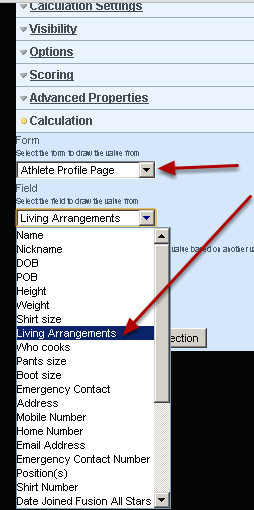 Select the Profile Form and Field that you are linking to in the Calculation section