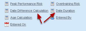 Date Calculations allow you to calculate out differences between date fields, and the duration from one date to another