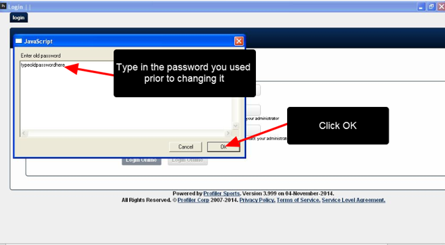 Simply retype in the original password (the one before you updated it)