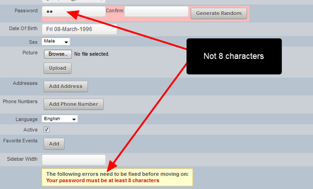 """If the password is too short, the """"at least 8 characters"""" error message will appear"""