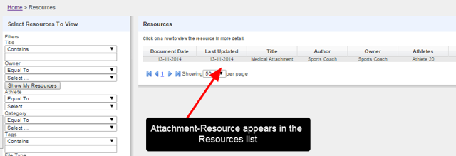 On the child site, users can also search for that Attachment Resource using the My Resources Module