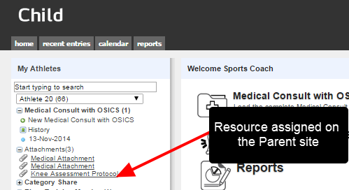 The Resource is shared on the child site if the user has access to the linked Category