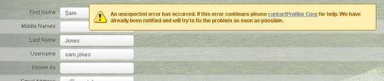 When you click save for the user, an unexpected error message appears because the user exists on a different site.