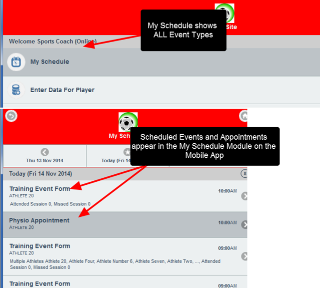 However, if an Appointment <strong>of Scheduled</strong> Event is entered for an athlete, it will appear in the Schedule (as shown here) and in the Athlete History Modules