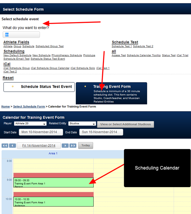 Scheduled and Appointment Events need to be entered via a special Scheduling calendar on the main Smartabase system.