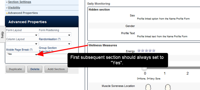"""If you use this type of section visibility setting AND the forms will be used on the Mobile Application, you need to check that the subsequent section, after any completely hidden sections, is always set as Mobile Page Break =""""Yes"""""""