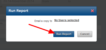 The Run Report Pop Up box will appear. Click to Run Report