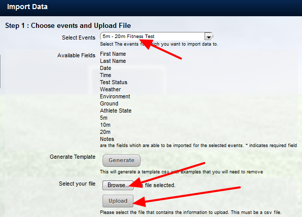 Once the Event Type is selected, upload the csv file