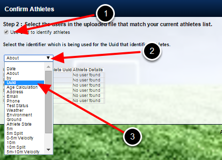 An Identifier field selector appears. Select the Column which contains the athletes' ID (e.g. the name of the ID field in the csv file)