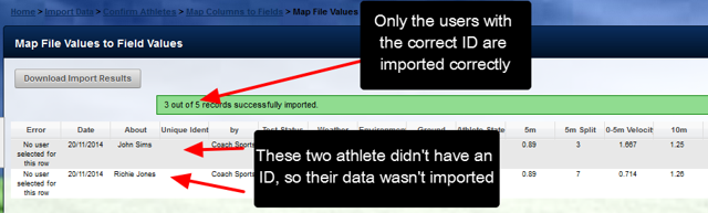 The data is imported for everyone but the user's without a correct ID listed in the csv
