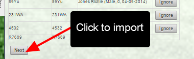 """When you are ready to import, click on """"Next"""""""