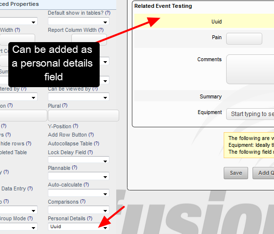 In the Form Builder, Uuid appears for selection as a Personal Details field, and the Smartabase ID will be pulled into this field