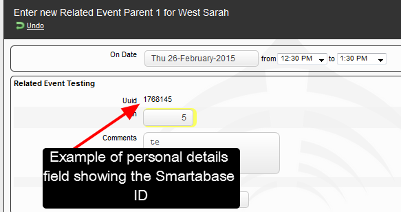 An example of the Smartabase ID set as a Personal Details field in an Event Form