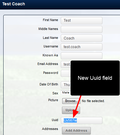 A Uuid field can be entered for each user.