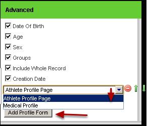 "To Include specific Profile Data click on the ""Add Profile Form"""