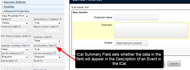 """If you want additional data from with the Event Form to be included in the iCal Event, then set the appropriate field/s as """"iCal Summary fields"""""""