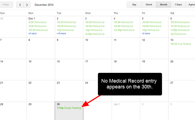 The iCal is imported for all of the other events, but the Medical Record entry is not included in the iCal