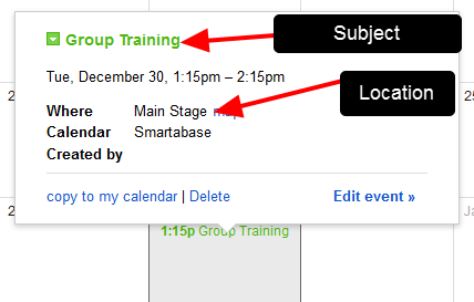 When the Event is opened, the Name (Subject) and Location appear as per the data in the Event Form entry in Smartabase