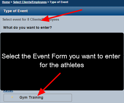 Select the Event Type that will be entered for these athletes